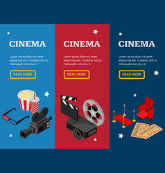 cinema concept movie banner vecrtical set vector image