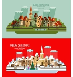 City landscape Set of elements - house building vector image