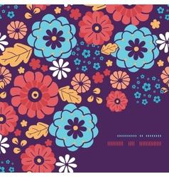 Colorful bouquet flowers frame corner pattern vector image