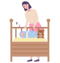 Cradle with sleeping baand mother looking vector