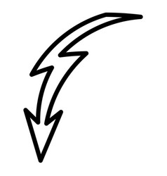 Curved lightning icon outline style vector