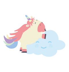 cute adorable unicorn and clouds kawaii fairy vector image