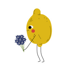 cute lemon standing with bouquet flowers vector image