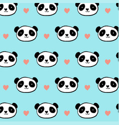 Cute panda bear seamless pattern vector