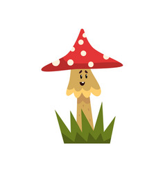 cute poisonous fly agaric mushroom character with vector image