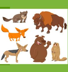 Cute wild animal characters set vector