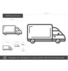 Delivery van line icon vector