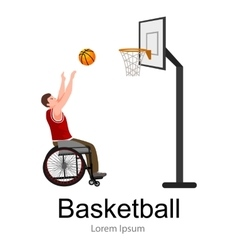 Disabled people On Wheelchair Play basketball for vector