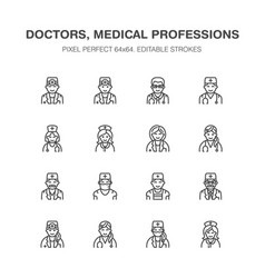 Doctors professions medical occupations - surgeon vector