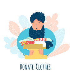 Donate clothes concept with a man carrying a box vector