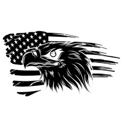 eagle head - side view silhouette vector image