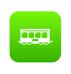 fast train icon green vector image