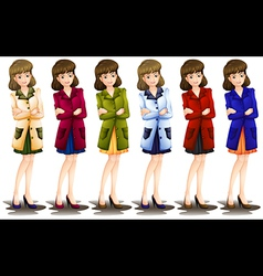 Female in different shades of a blazer vector image vector image