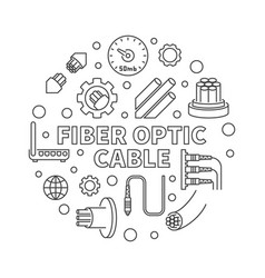 Fiber optic cable round concept line vector