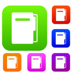 file folder set color collection vector image