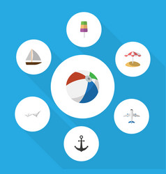 Flat icon beach set of aircraft sphere yacht and vector