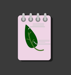 flat icon design collection notebook and leaf in vector image
