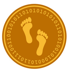 footprints digital coin vector image