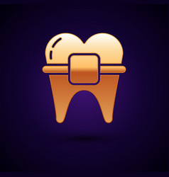 Gold teeth with braces icon isolated on dark blue vector