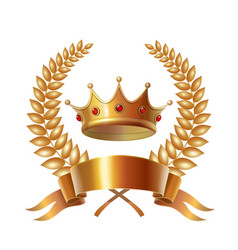 Gold vintage crown and laurel wreath royal emblem vector