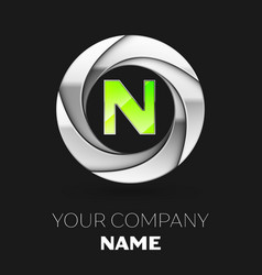 green letter n logo symbol in the silver circle vector image