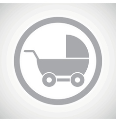 Grey pram sign icon vector