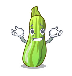 Grinning fresh organic zucchini in cartoon bowl vector
