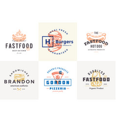 hand drawn fast food logos and labels with modern vector image