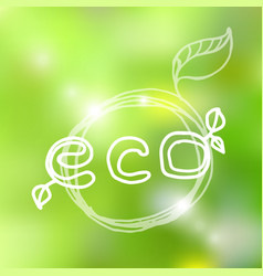 hand drawn natural eco bio product label or round vector image