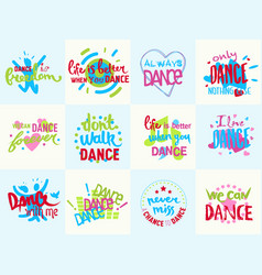 Handdrawn lettering love dance and music phrase vector
