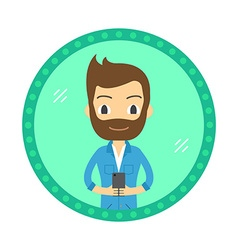 Hipster style man take a selfie in the mirror flat vector image