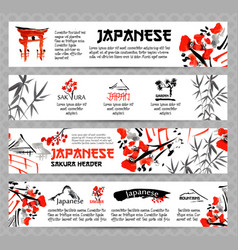 horizontal website banners set with asia vector image