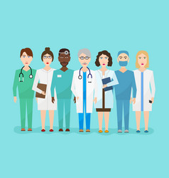 hospital medical staff team doctors nurses vector image