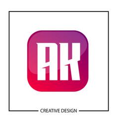 initial letter ak logo template design vector image