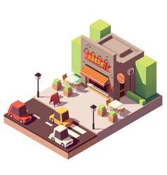 isometric kebab shop vector image