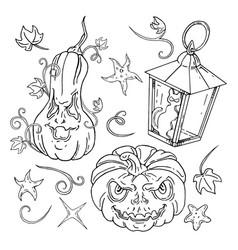 jack o lantern halloween set lanterns vector image