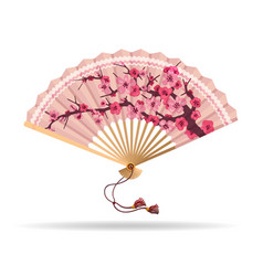 Japan cherry blossom folding fan vector