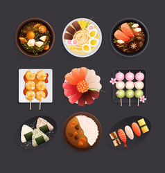 japanese traditional food composition vector image