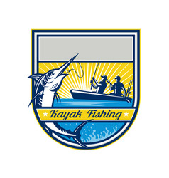 kayak fishing blue marlin badge vector image