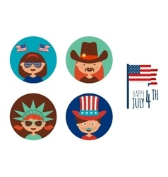 Kids with costume and props for independence day vector