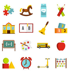 Kindergarten symbol icons set in flat style vector