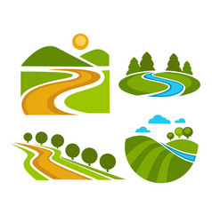 landscape corporate identity isolated icons nature vector image