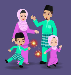 Malay family celebrate hari raya aidilfitri vector