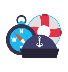 marine lifebuoy compass and hat vector image