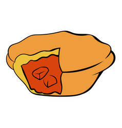 Meat pie icon cartoon vector