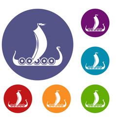 medieval boat icons set vector image