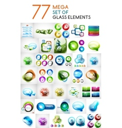 Mega set of glass abstract shapes design elements vector image