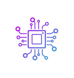 microchip line icon cpu central processing unit vector image