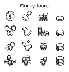 Money coin icon set in thin line style vector