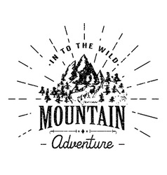 Mountains handdrawn sketch emblem outdoor camping vector image